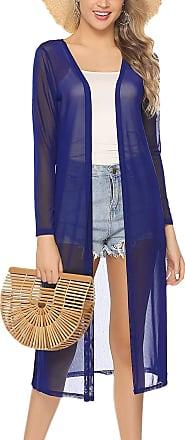 Abollria Womens Summmer Sheer Lightweight Long Sleeve Split Open Front Long Cardigan Deep Blue