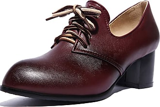 Vimisaoi Womens Vintage Oxfords Cuban Brogues Wingtip Pu Leather Lace-up Square Mid Heel Ankle Booties College Style Dress Shoes