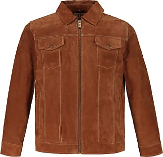 JP1880 Mens Big & Tall Suede Zipper Front Jacket Camel XX-Large 720236 35-XXL