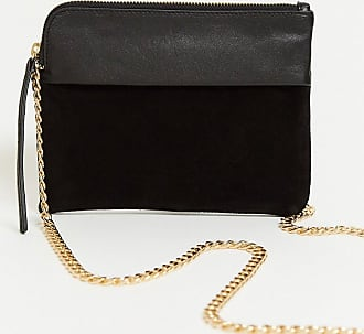 Urban Code cross body pouck bag in leather and suede-Black