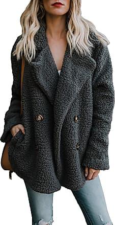 Yidarton Womens Winter Teddy Bear Coat Ladies Fuzzy Fleece Lapel Long Sleeve Outwear Jacket Cardigan (Black, XX-Large)