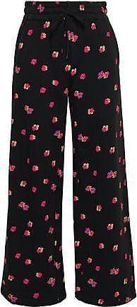 Rebecca Taylor Rebecca Taylor Woman Floriana Floral-print Cotton-fleece Wide-leg Pants Black Size XS