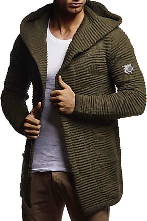 LEIF NELSON Men Cardigan Jacket Hood LN-7180 Khaki XX-Large