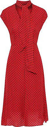 Milly Milly Woman Gabby Tie-neck Polka-dot Silk Crepe De Chine Dress Red Size 10