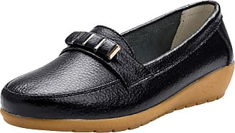 Daytwork Shoes Women Loafer Flats - Round Toe Slip on Comfort Casual Lightweight Wedge Moccasins Driving Walking Boat Shoes Black