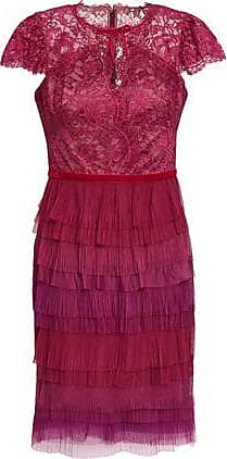 Marchesa Marchesa Notte Woman Tiered Lace And Plissé-tulle Mini Dress Plum Size 10