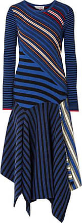Opening Ceremony Asymmetric Striped Cotton-blend Midi Dress - Blue