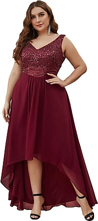 Ever-pretty Womens Sleeveless V Neck High-Low Empire Waist Chiffon Plus Size Elegant Wedding Guest Dresses with Sequins Burgundy 26
