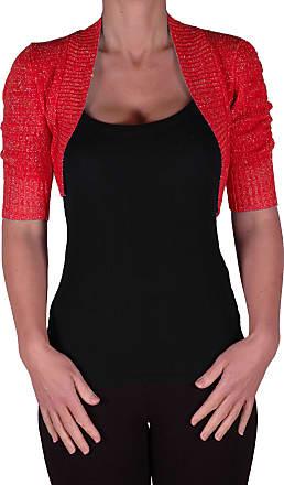 Eyecatch EyeCatchClothing - Lavina Short Sleeve Lurex Knitted Bolero Shrug One Size Red