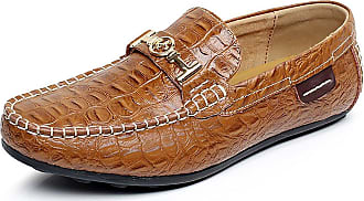 Jamron Mens High-End Croc Stamping Leather Buckle Loafer Flats Stylish Driving Shoes Boat Shoes Brown 1314 UK9