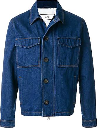 Ami Jaqueta jeans com zíper - Azul