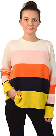 White Label Oasis Womens Colour Block Stripe Jumper Orange Yellow Pink Black Ivory Mix Size Small