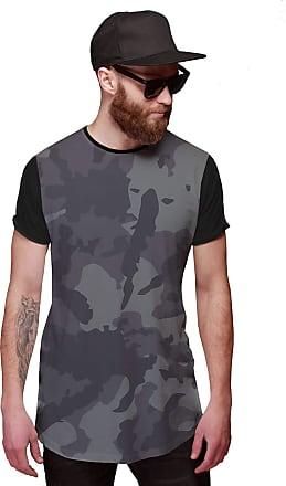 Di Nuevo Camiseta Longline Cinza Camuflada Thug Life Exército