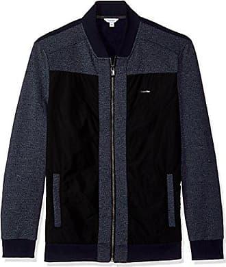 Calvin Klein Mens Long Sleeve Contrast Fabric Blocked Full Zip Bomber, Cadet Navy, Small