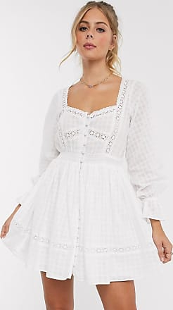 Asos button through lace insert mini dress with elasticated waist in white