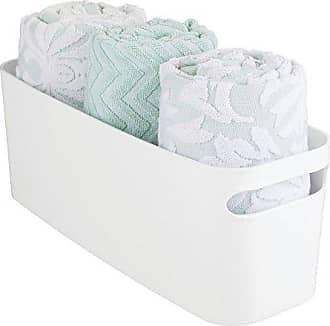 InterDesign Una Storage Bin, Organizer Basket for Bathroom, Kitchen, Vanity, Bedroom, College Dorm, 16 x 6 x 6, White