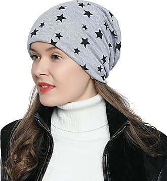 DonDon Womens Slouch Beanie with Stars Print and Soft Inner Lining - Light Grey
