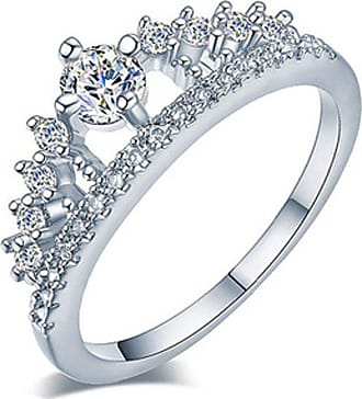 QUINTRA New Fashion Gold Pretty Crown Lady Crystal Ring Princess Ring Rose Gold Silver (Silver, 8)