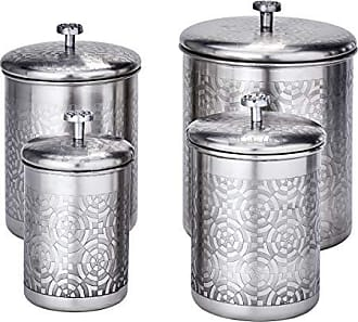 Old Dutch International 1864SN 4 Pc. Brushed Nickel Geometric, 4, 3, 2, Qt Canister Set, 11.5Qt, Stainless Steel