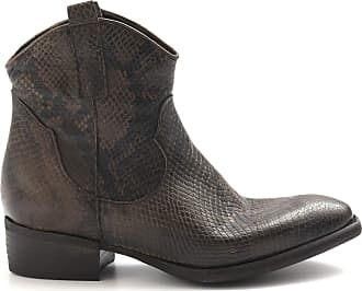 Zoe Brown Texan Boots Python Print Leather - New Tex Pit Python Beaver - Size Brown Size: 3 UK