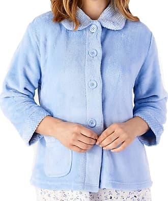 Slenderella Ladies 3/4 Sleeve XXX Large Soft Light Blue Soft Coral Fleece Button Up Bed Jacket Coat Size 28 30