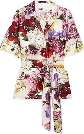 Dolce & Gabbana Belted Floral-print Silk-satin Shirt - White