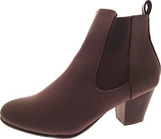 Lora Dora Womens Chunky Heel Chelsea Boots Brown UK 7