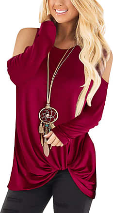 Yoins Women Off Shoulder Tops Loose Casual Crossed Front Design Cold Shoulder Long Sleeves Round Neck Blouses Off Shoulder-Burgundy UK 6-8