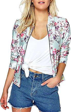 EUDOLAH Ladies Vintage Cardigan Jacket Flower Print Sweatshirts with Zipper Spring Autumn Streetwear(M,Pink)