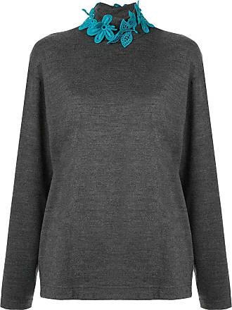 Kolor embroidered floral neck jumper - Grey