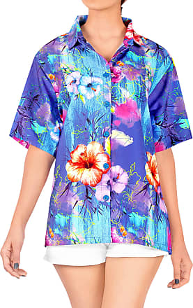 La Leela 3D Printed Womens Hawaiian Blouse Top Collar Short Sleeve Button Down V Neck Casual Work Yoga Shirt Summer Holiday M-UK Size:18-20 Blue_X212
