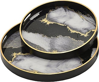 Three Hands Black and Gold Round Decorative Glass Trays - Set of 2 - 74830