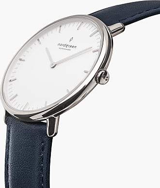 Nordgreen Native - Silver | Navy Blue Leather - 36mm / Silver