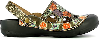 Laura Vita BECZIERSO 41 Womens Leather Clog, Summer City Shoes, Ankle Strap with Comfortable Sole - Original Style Flowers, Taupe Beige Size: 8 UK