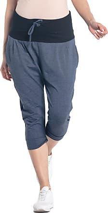 Happy Mama Womens Maternity Crop Pants Elastic Contrast Belly Waistband. 582p (Jeans Melange, UK 12, M)