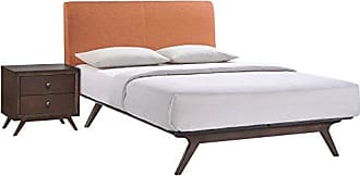 ModWay Modway Tracy Mid-Century Modern Wood Platform Queen Size Bed with a Nightstand in Cappuccino Orange