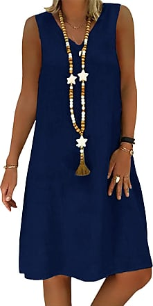 Yidarton Womens V Neck Summer Dress Short Sleeve Casual Midi Dress Chic Vintage Ethnic Sundress Solid Color Loose Linen Dress Without Accessories (ZY/Dark Blue
