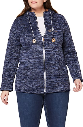 Ulla Popken Womens Strickfleece Jacket, Blue (Dark Blue 70), 20