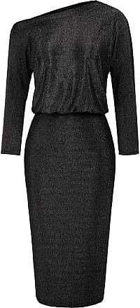 Grace Karin Elegant Womens Off The Shoulder Dress Ladies 3/4 Sleeve Asymmetric Neck Bodycon Pencil Dress Spring Black