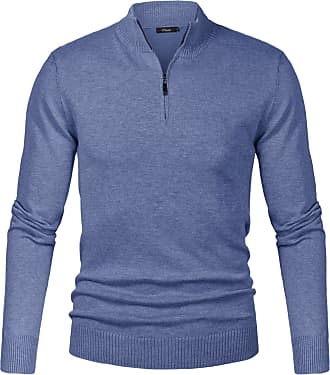iClosam Mens Set-in Classic Sweater Pullover Jumper Knitwear (Blue, S)