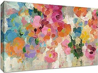 Tangletown Fine Art Colorful Garden I by Silvia Vassileva Gallery Wrap Canvas, Blue, Pink, Orange