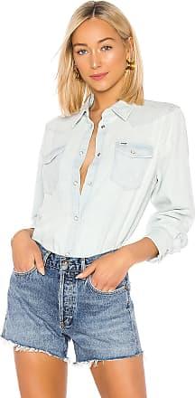 Wrangler Heritage Oversized Denim Shirt in Bleached Indigo