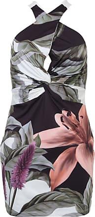 Lança Perfume Vestido Lança Perfume Curto Floral Off-White/Verde