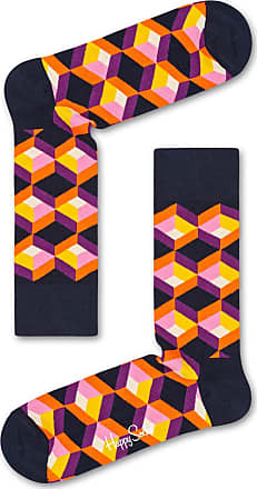 Happy Socks Cool Colourful Patterned Cotton Socks for Men and Women, Optic Square Blue (41-46)