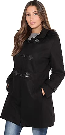 Krisp Women Parka Belted Military Duffle Trench Toggle Coat Long Jacket (Black, 6), 5652-BLK-06