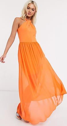 French Connection twist halter maxi dress in orange