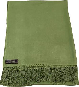 CJ Apparel Olive Green Solid Colour Design Nepalese Tassels Shawl Scarf Wrap Stole Throw Pashmina CJ Apparel NEW