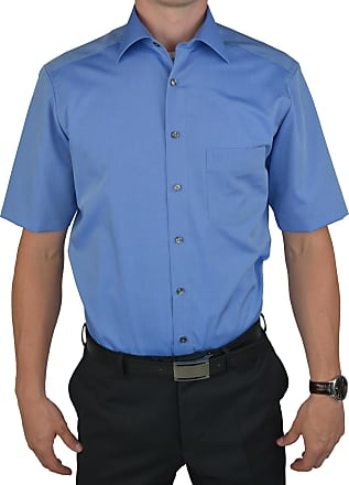 Olymp Mens Plain Classic Short Sleeve Casual Shirt Blue mid-Blue - Blue - 18