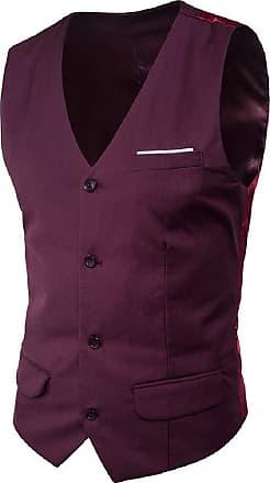 H&E Men Sleeveless Jacket Blazer Waistcoat Single Breasted Vest Crimson L