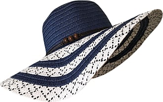 TOSKATOK Ladies Wide Brimmed Floppy Straw HAT (Navy Stripe)